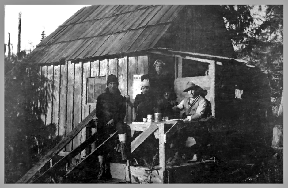 Pollough Pogue's Cabin at the Nasmyth Mill Site  - 1924